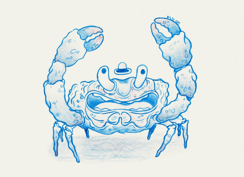 Crab man lives in shallow puddles down the quite alleyways, he's a party dwelling crab and likes late nights and free bars,